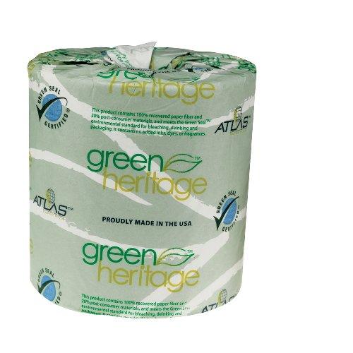 Green Heritage 1-Ply Standard Toilet Tissue, 96 Rolls per Carton (1 Carton) by Atlas