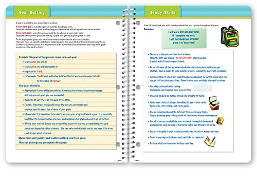 Dated Elementary Student Planner for Academic Year 2018-2019 (Block Style - 8.5''x11'' - Blue Burst Cover) - Bonus Ruler/Bookmark and Planning Stickers by Global Datebooks (Image #8)