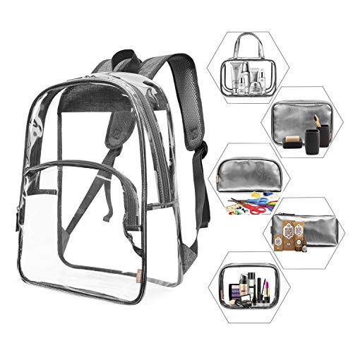 NiceEbag 6 in 1 Clear Backpack Heavy Duty School Bookbag with Pencil-Case Transparent Travel Backpack with Makeup Bags Stadium Approved See-Through Backpack for Teen Girl Boy Kid Adult,Grey