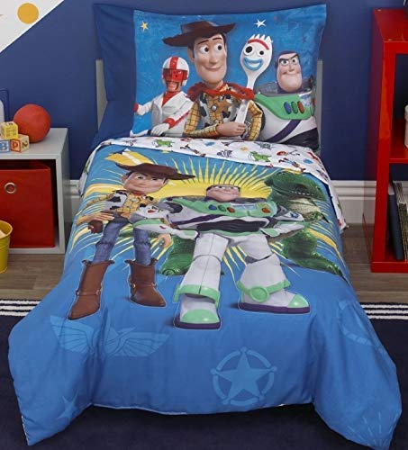 Toy Story 4 Toys in Action Toddler Bedding Set Comforter + Sheets (4 Piece) (Toy Blanket Set Story)