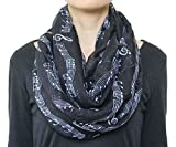 Light Weight Musical Note Print Infinity Circle Scarf Black and White For Music Lover