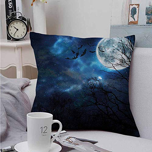 AndyTours Square Pillow Case Cover Halloween Bats Flying in Night Sky Cushion Case for Sofa Bedroom Car 16 X 16 -