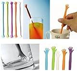 5 Pcs Little grin Hand Shape Stirrer for Juice drinks Coffee Tea