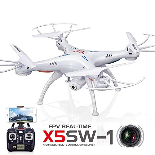 LeaningTech x Syma X5SW FPV Explorers2 2.4Ghz 6-Axis 4CH Gyro RC Headless Quadcopter Drone UFO with HD Wifi Camera White