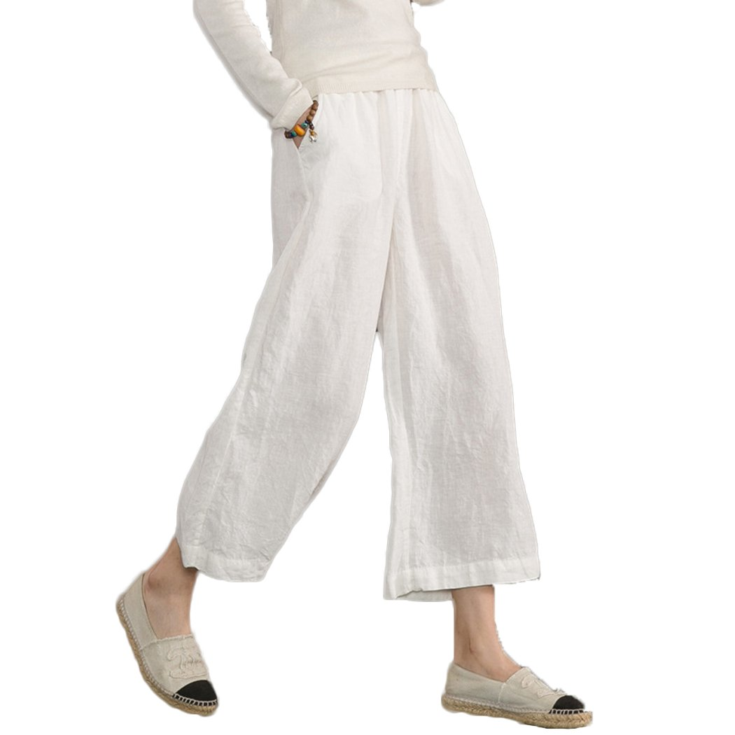 Ecupper Womens Casual Loose Plus Size Elastic Waist Cotton Trouser Cropped Wide Leg Pants White 4-6