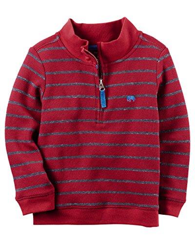 Carter's Boys' Long-Sleeve Half-Zip Striped Sweater; Burgandy & Blue (9M) ()