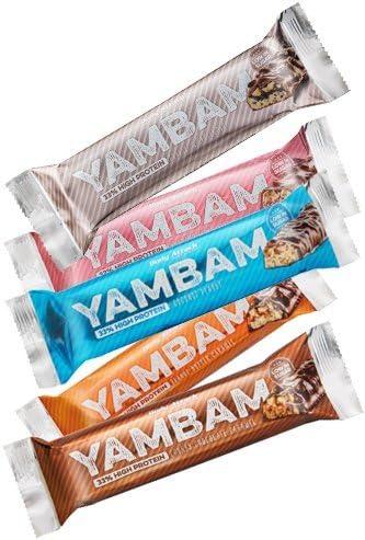 BodyAttack YAMBAM Protein Bar 10 x 80g MIXBOX (Erdbeere | Peanut | Schoko | Cookie | Coconut)