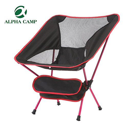 Alpha Camp Outdoor Ultralight Folding Chair with Carry Bag Recreation Beach Camping Hiking Fishing Red