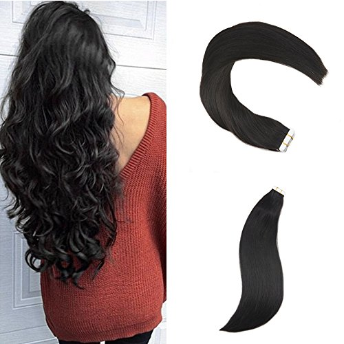 Ugeat 24inch 50Gram Off Black Tape in Hair Extensions Human Hair Off Black Remy Hair Real Human Hair Extensions
