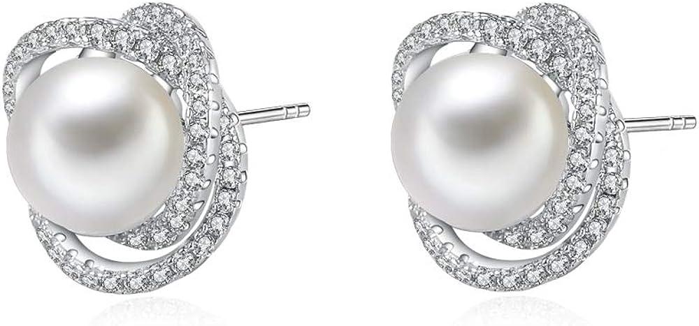 Pendientes de perlas para mujer, perlas de agua dulce auténticas, 9 mm, pendientes de tuerca de plata de ley para mujer