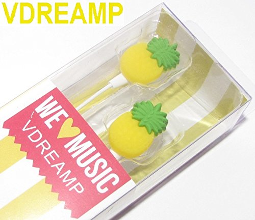 Cartoon Earphone Pineapple 3D Earbuds in Ear Headphone for Apple Samsung HTC Android Smartphone Tablet MP3 Stereo Wired 3.5 mm Best GIF (Pineapple)