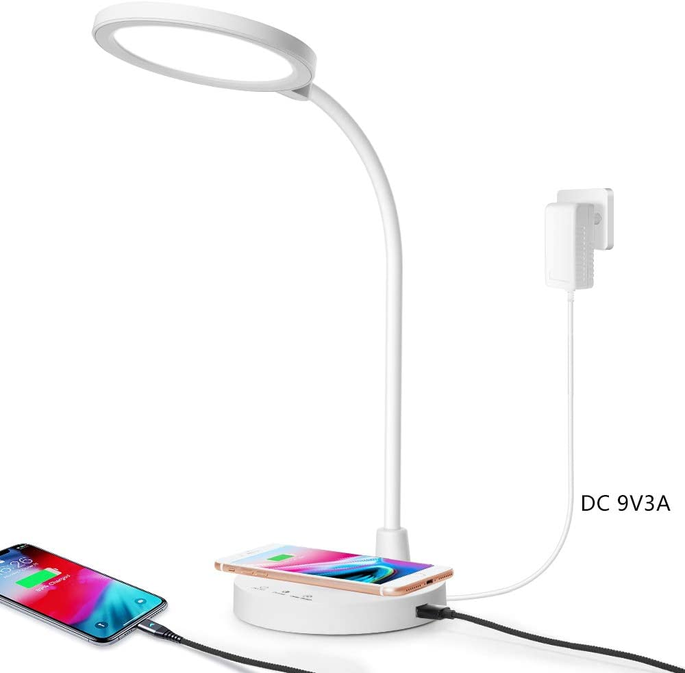 MIZHMI Desk lamp Charger Wireless Table Light LED Table Lamps Kids Wireless Charger USB Charging Port Adjustable Brightness Height Angle delay Off Touch Control Latest Trend Desk Lamps