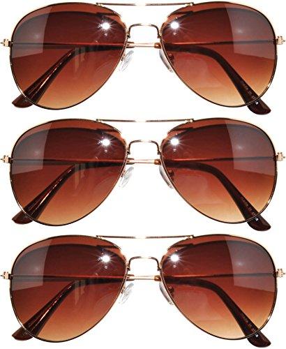 3 pairs Classic Aviator Sunglasses Amber Lens (3 pairss-gold -brown) OWL.
