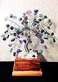 Amethyst, Green Adventurine and Lapis Lazuli Crystal Gemstone Bonsai Tree Of Life,Feng Shui,Wire Art Decor,Healing Gemstone Wire Tree Sculpture In Wood Pot, Money Tree