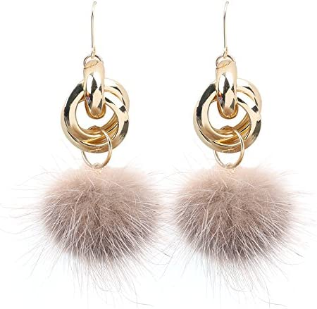 New 2018 Ja and South Korea jewelry sweet personality long paragraph plush fur ball pendant female temperament earrings metal ring