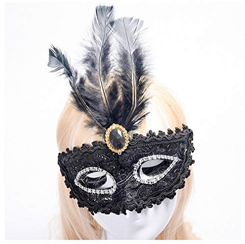 Womens Mask Hot Half Face Soft Feather Mask Lace Event Party Venetian Ball Masquerade Venetian Mask P0.5 A5 ()