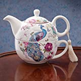 Kyпить Bits and Pieces - Tea For One Peacock Porcelain Teapot and Cup Set - Elegant Peacock Design With Delicate Tassel on Teapot Handle Makes Great Decoration - Includes Decorative Gift Box на Amazon.com