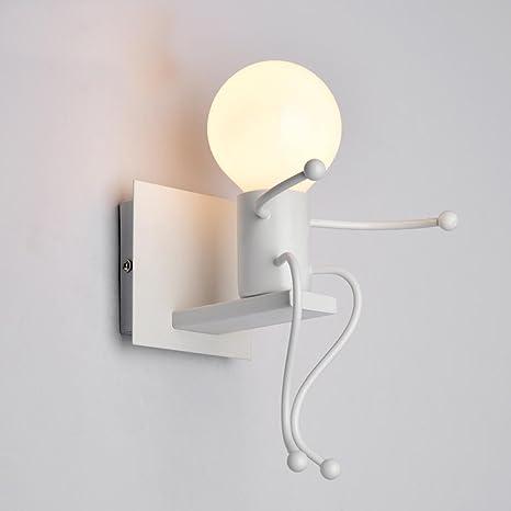 Applique Murale Creatrice Et Epuree Pour Salon Chambre A Coucher Couloir Chambre D Enfant 1 Ampoule Moderne Blanc Fer Design De Caractere