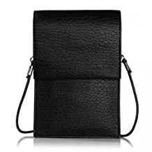 Universal Faux Leather Cellphone Shoulder Pouch Bag Case for iPhone 6S Plus / Microsoft Lumia 950 640 XL / Motorola Moto X Pure Edition / Oneplus Two (Black)