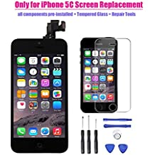 iPhone 5C LCD Display Screen Touch Digitizer Full Assembly Replacement with Home Button Front Camera Proximity Sensor Ear Speaker Complete Repair Tools and Screen Protector Black