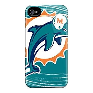 Iphone 4/4s PcN8919wTqr Allow Personal Design Attractive Miami Dolphins Pattern Excellent Hard Cell-phone Cases -KaraPerron