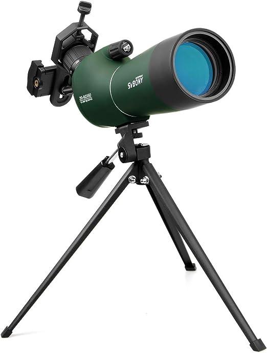 Svbony SV28 Telescopio Terrestre 20-60x60 de Zoom ImpermeableTelescopio Terrestre con Trípode y Adaptador Universal para Smartphone para Observación: Amazon.es: Electrónica