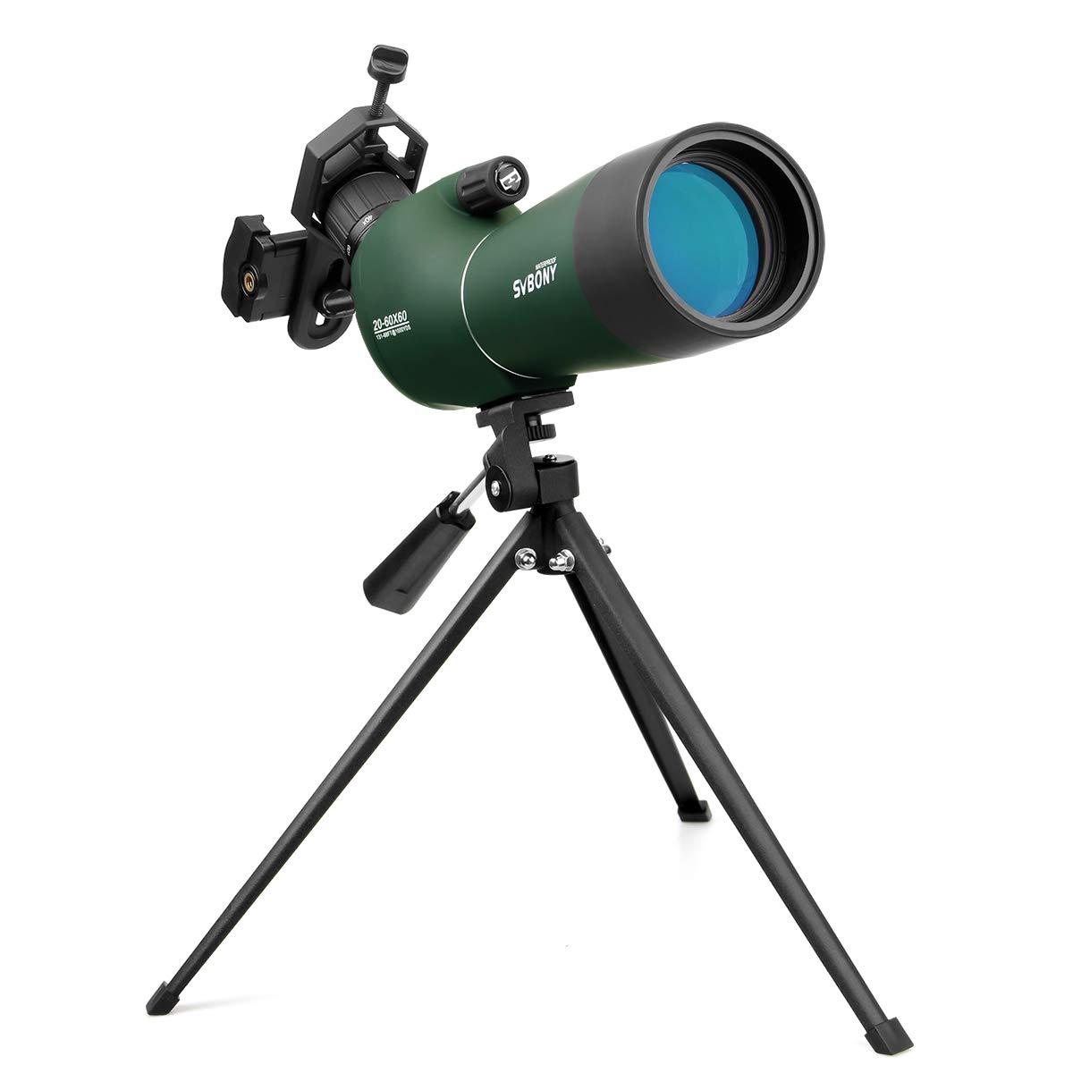 Svbony SV28 Telescopio Terrestre 20-60x60 de Zoom ImpermeableTelescopio Terrestre con Tr/ípode y Adaptador Universal para Smartphone para Observaci/ón