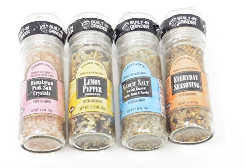 Spices with Built-in Grinder Trader Joes Lemon Pepper, Garlic Salt, Everyday Seasoning and Himalayan Pink Salt- Bundle with one of Each Kitchen Necessities by Trader Joe's