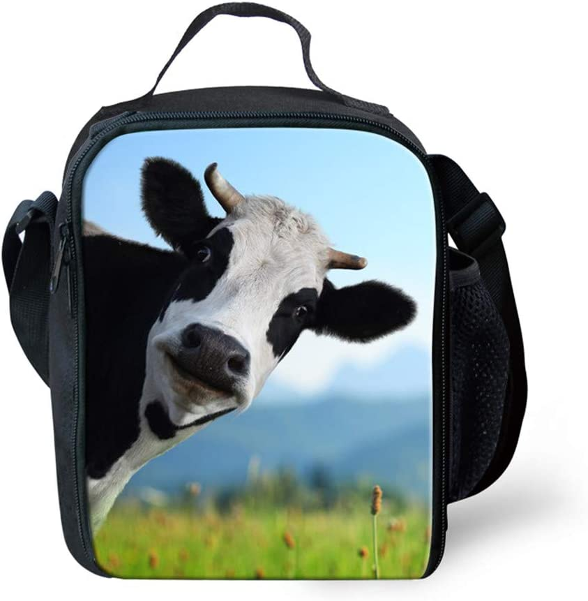 Upetstory Funny Cow Print Lunchbox for Kids Insulation Thermal Lunch Bag with Shoulder Strap Picnic Food Warm Keeper
