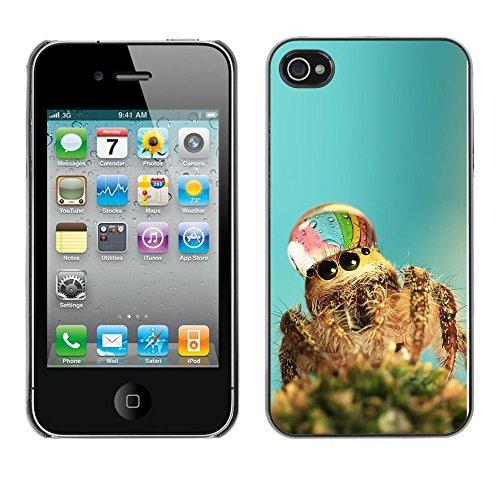 Omega Case PC Polycarbonate Cas Coque Drapeau - Apple iPhone 4 / 4S ( Cute Spider Waterdrop )