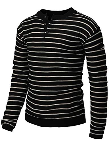 H2H Mens Casual Slim Fit Henley Stripe Patterned Sweater Long Sleeve of Various Styles Black US M/Asia L (KMTTL490)
