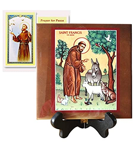 Saint Francis of Assisi Plaque or Tile Several Sizes or Altar Free Laminated Holy Card (4.5 x 4.5) (St Francis Of Assisi Candle)