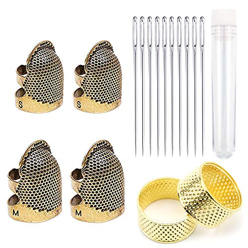 16 Pieces Sewing Tool kit,Includes Adjustable Sewing Thimble Finger Protector and Large-Eye Hand Sewing Needle