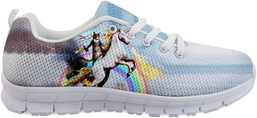 Lace-up Sneaker Training Shoe Mens Womens Fantasy Cat Unicorn Rider Fighting