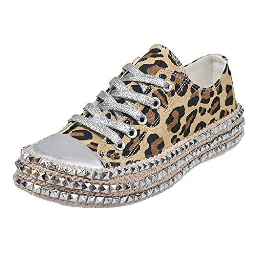 Fheaven Casual Lace-Up Low Top Rivet Trim Shoes Leopard Hemp Rope Thick Bottom Canvas Sneakers Shoes Brown