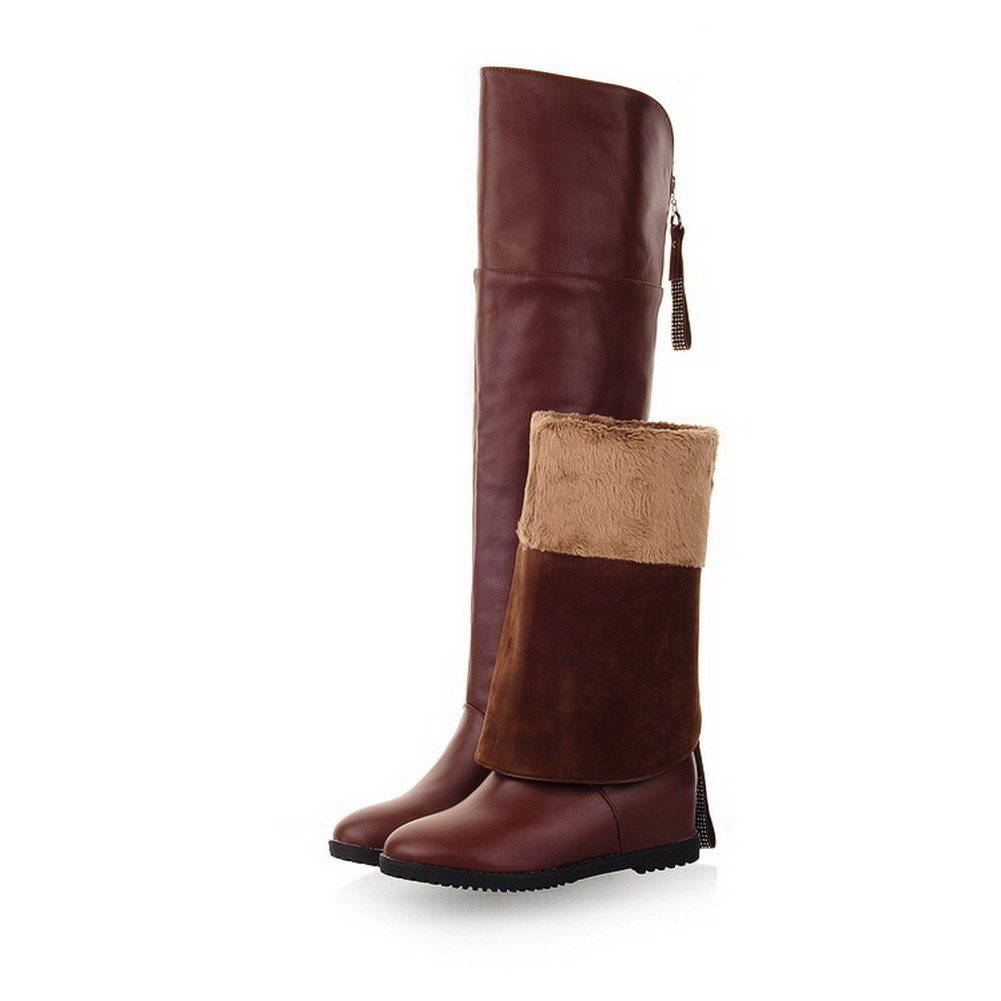 VogueZone009 Womens Closed Round Toe Low Heels PU Soft Material Fine Fleece Solid Boots Zipper, Brown, 5 B(M) US by VogueZone009 (Image #5)