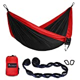 OKWINT Double Camping Hammock Garden Hammock Ultralight Nylon Portable Hammock, Heavy-duty 500lbs Parachute Hammock for Backpacking, Camping, Travel, Bea (Red & Black, Double)