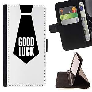 For Samsung Galaxy Note 3 III Case , Buena Suerte Cita Trabajo corbata Negro- la tarjeta de Crédito Slots PU Funda de cuero Monedero caso cubierta de piel