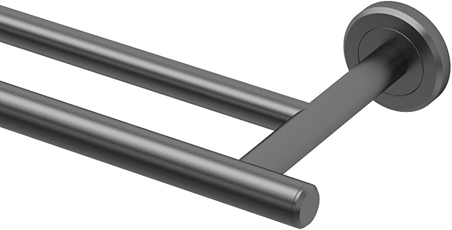 """BACK TO BACK BRUSHED NICKEL 18/"""" or 24/"""" EURO TOWEL BAR DOUBLE SIDED"""