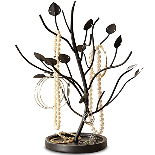 Order Home Jewelry Organizer Necklace and Earring Holder for Women, Matte Black Metal Tree Hanger Display Stand with Bowl Tray Base, Stores Trinkets and Rings