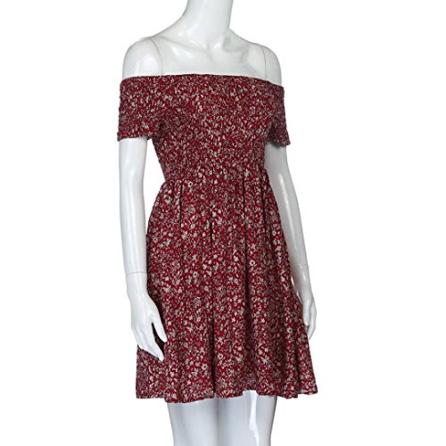 vestidos verano mujer casual Switchali moda vestidos de fiesta cortos elegantes mujer manga corta mini el vestido de novia de las mujeres atractivo sin tirantes Vestidos para mujer baratos Rojo