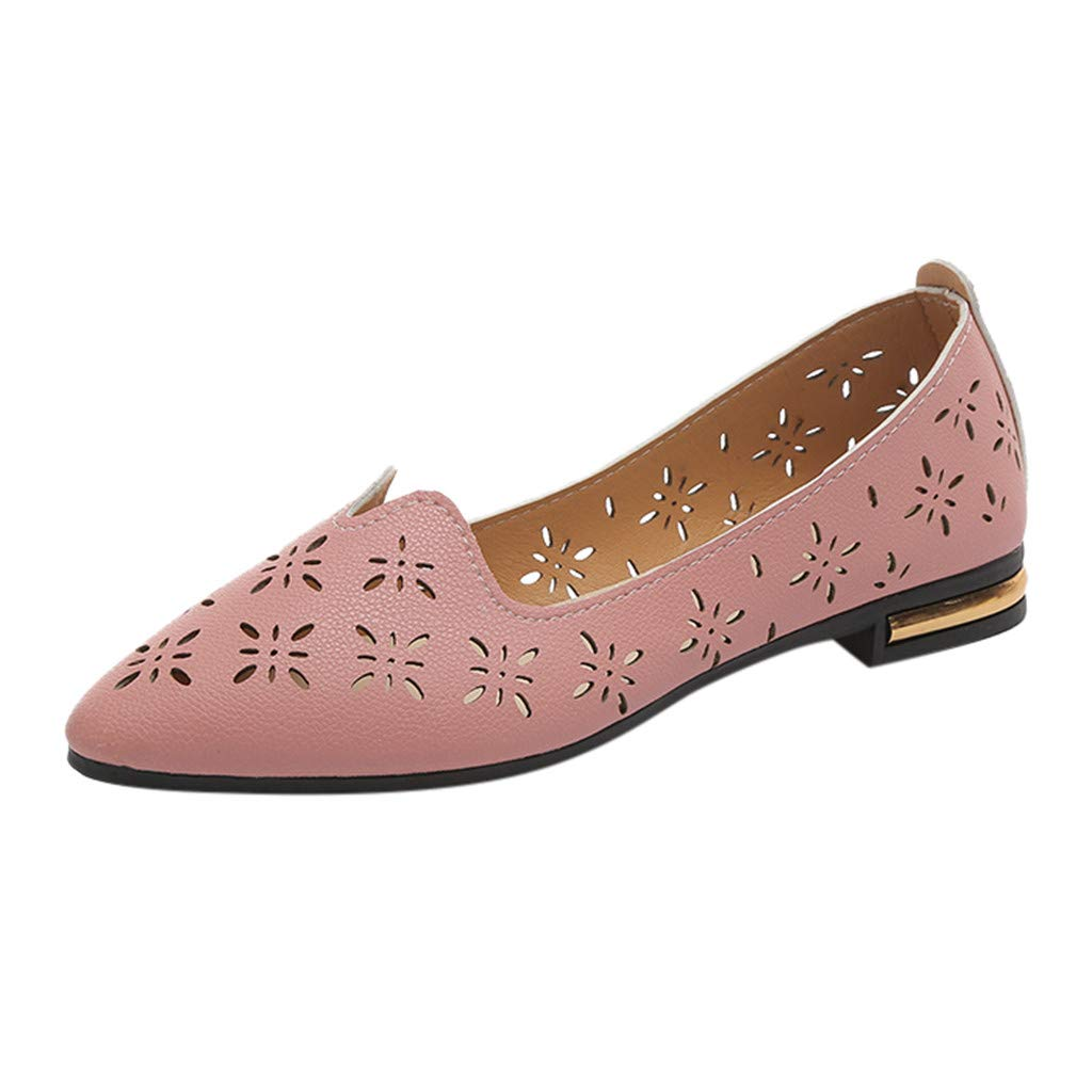 KESEELY Women's Elegant Pointed Toe Single Shoes Ladies Fashion Casual Shallow Work Shoes Breathable Hollow Flat Shoes Pink