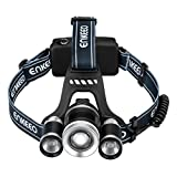 Enkeeo Multi-Beam LED Headlamp 2200 Lux Brightness, Middle T6 Bulb, 2-Side XPE Bulbs, 4 Light Modes, USB Charging Cable, Beam up to 1000ft, Telescopic Zoom for Trail, Skiing, Biking, Climbing