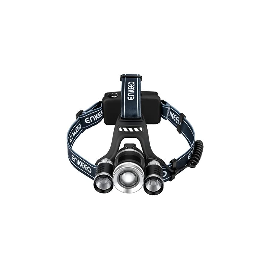 ENKEEO Multi Beam LED Headlamp 2200 Lux Brightness, Middle T6 Bulb, 2 Side XPE Bulbs, 4 Light Modes, USB Charging Cable, Beam up to 1000ft, Telescopic Zoom Trail, Skiing, Biking, Climbing