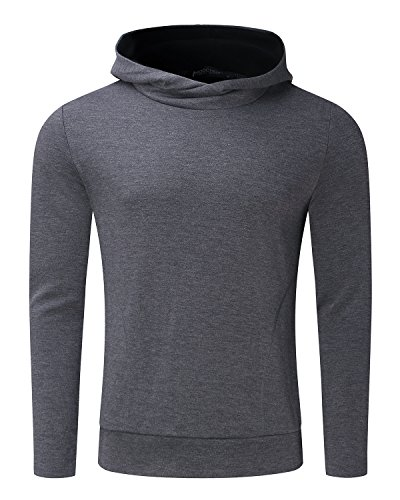MODCHOK Men's Long Sleeve Hooded T Shirts Cotton Tee Tops Hoodies Sweatshirts Dark Grey XL by MODCHOK (Image #5)