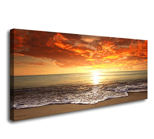 Baisuart-S0262 Canvas Prints Wall Art Sunset Ocean Beach Pictures Photo Paintings for Living Room Bedroom Home Decorations Modern Stretched and Framed Seascape Waves Landscape Giclee Artwork (Large For Paintings Living Room)