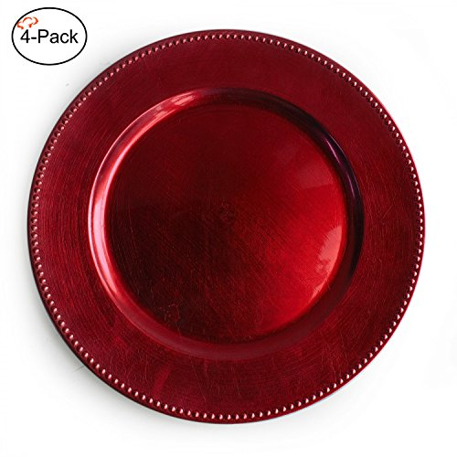 Tiger Chef 13-inch Red Round Beaded Charger Plates, Set of 2,4,6, 12 or 24 Dinner Chargers (Red Charger Plate)