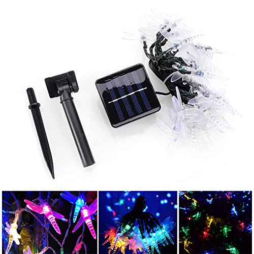 Solar String Lights Outdoor Waterproof LED Dragonfly, 20 LED Fairy Lighting 2 Modes (Steady, Flash) Garden Lamp Decorations for Party, Fence, Christmas Tree, Wedding, Holiday by elecfan - Multi ()