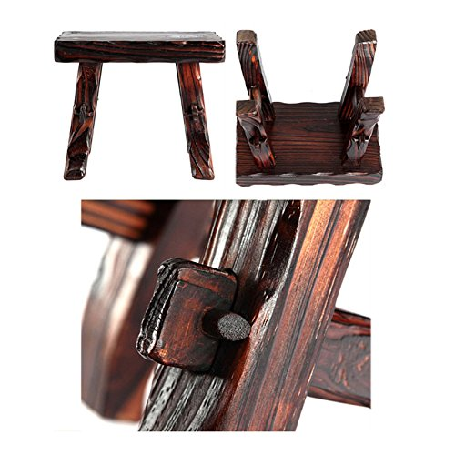 WENJUN Small Stool Home Solid Wood Children's Wood Stool Living Room Stool Modern-Style Retro Old Stool Creative Adult Shoes Stool Living Room Coffee Table Stool by WENJUNdengzi (Image #4)