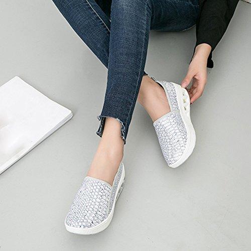 Ciabatta Da Donna Traspirante Casual Sneakers A Piattaforma Rialzata Comfort Mocassini Scarpe Argento